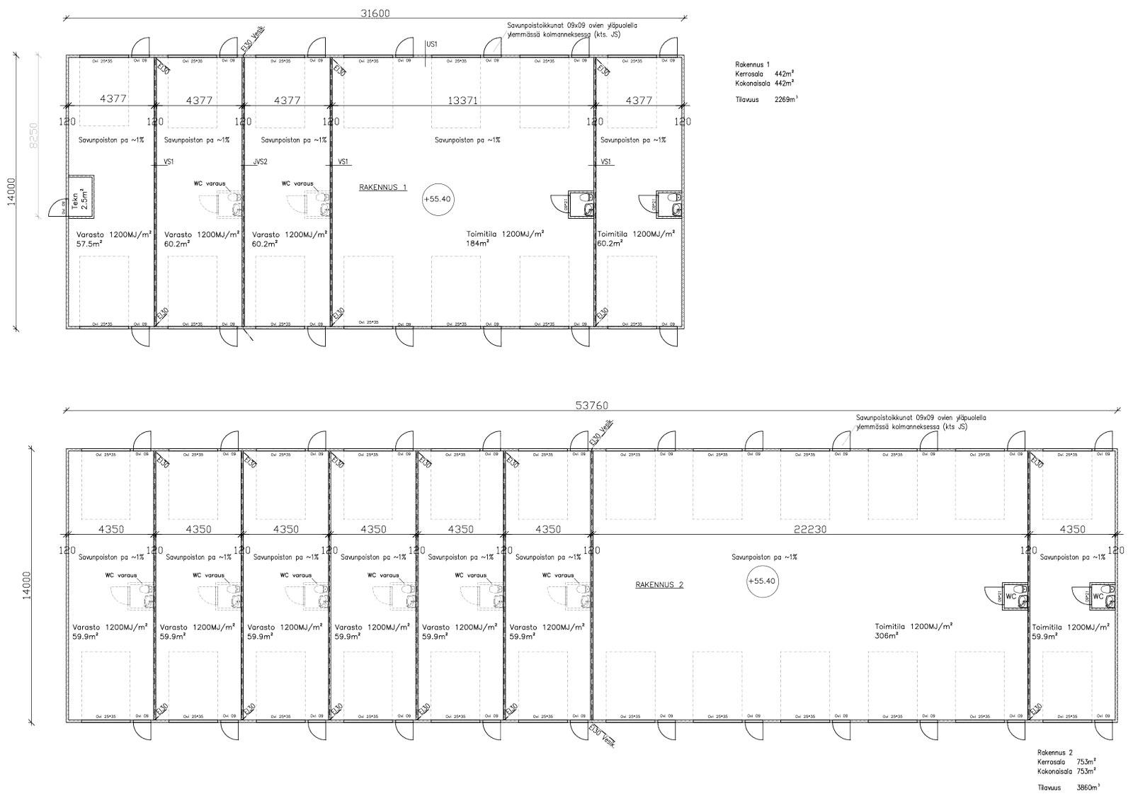Sarvivälkkeentie 8 Tuusula pohjapiirrustus varasto/tuotantotilat
